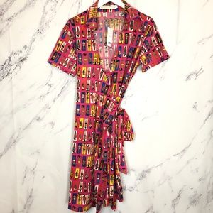 Tracy Negoshian Sunbathers Pink Yellow Wrap Dress